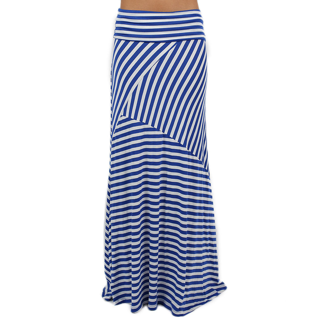Smitten In Stripes Maxi Skirt in Royal Blue