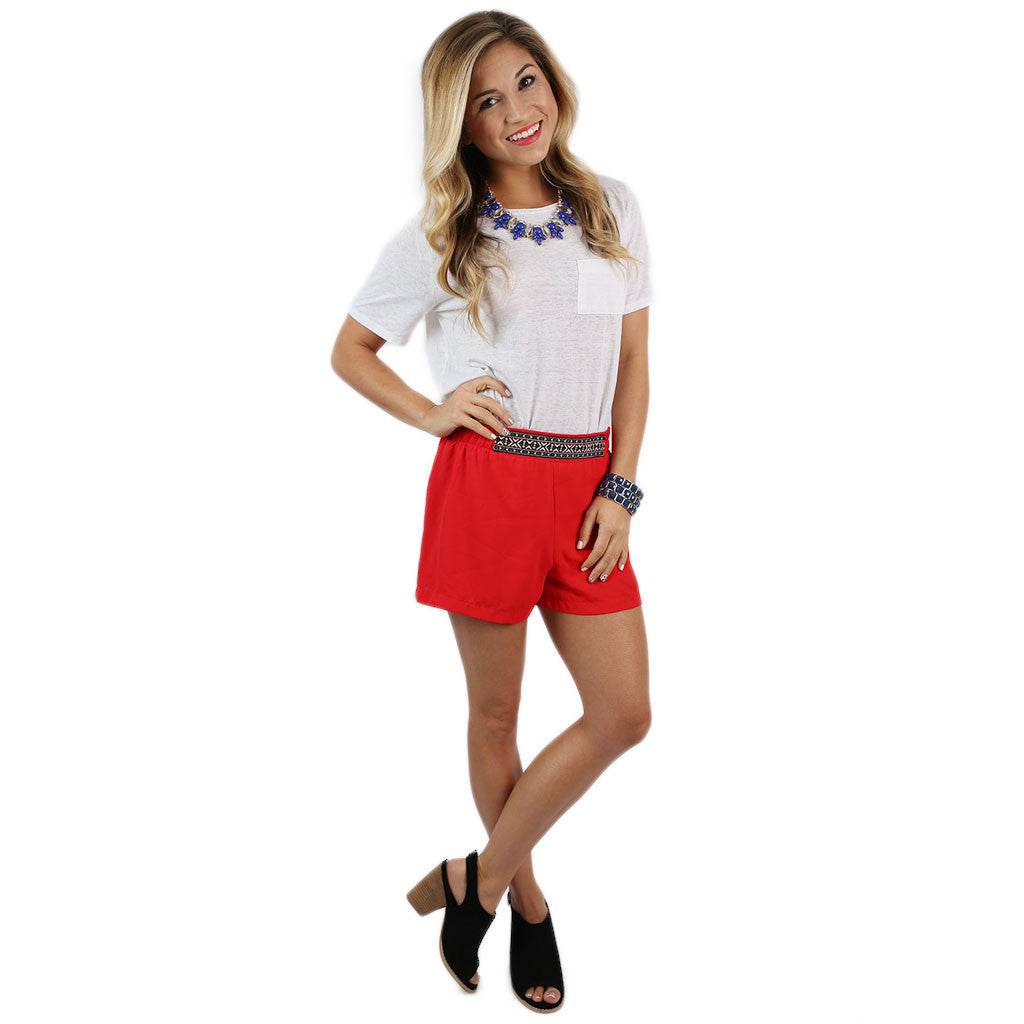 Cheer On Shorts in Red