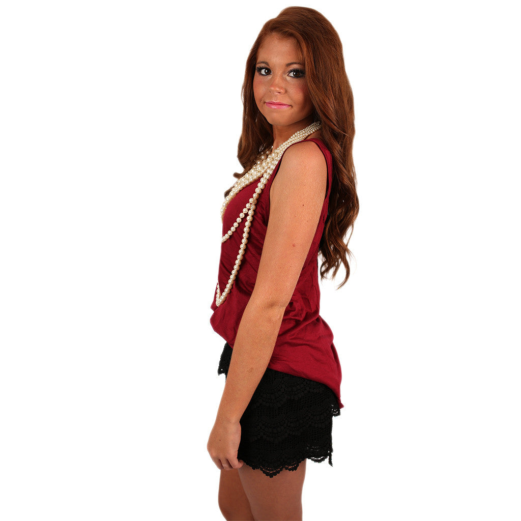 Crossback Tank Burgundy & Black
