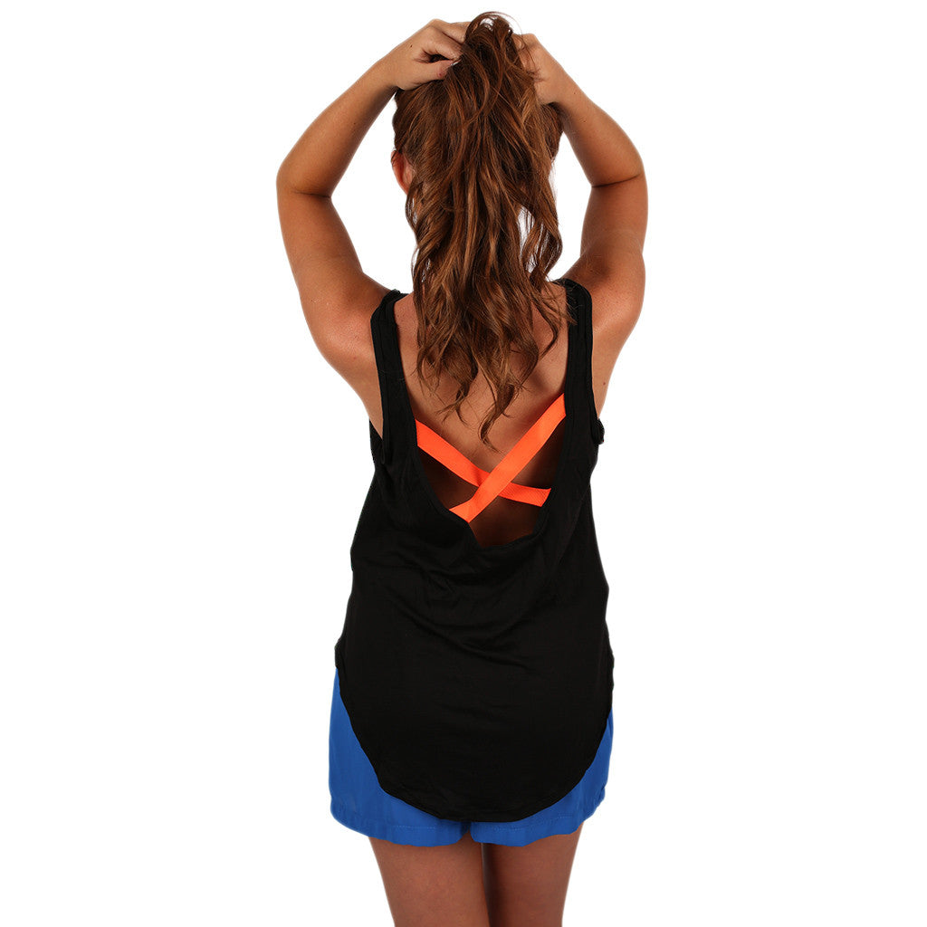 Crossback Tank Black & Orange