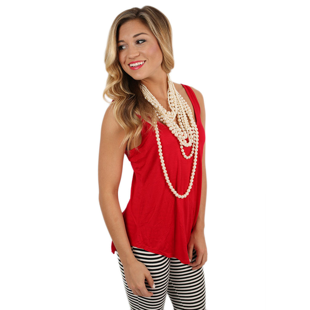 Crossback Tank Red & White