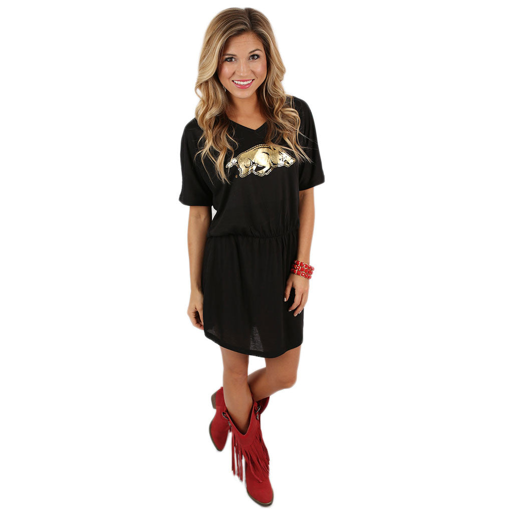 Razorback V-Neck Dress Black