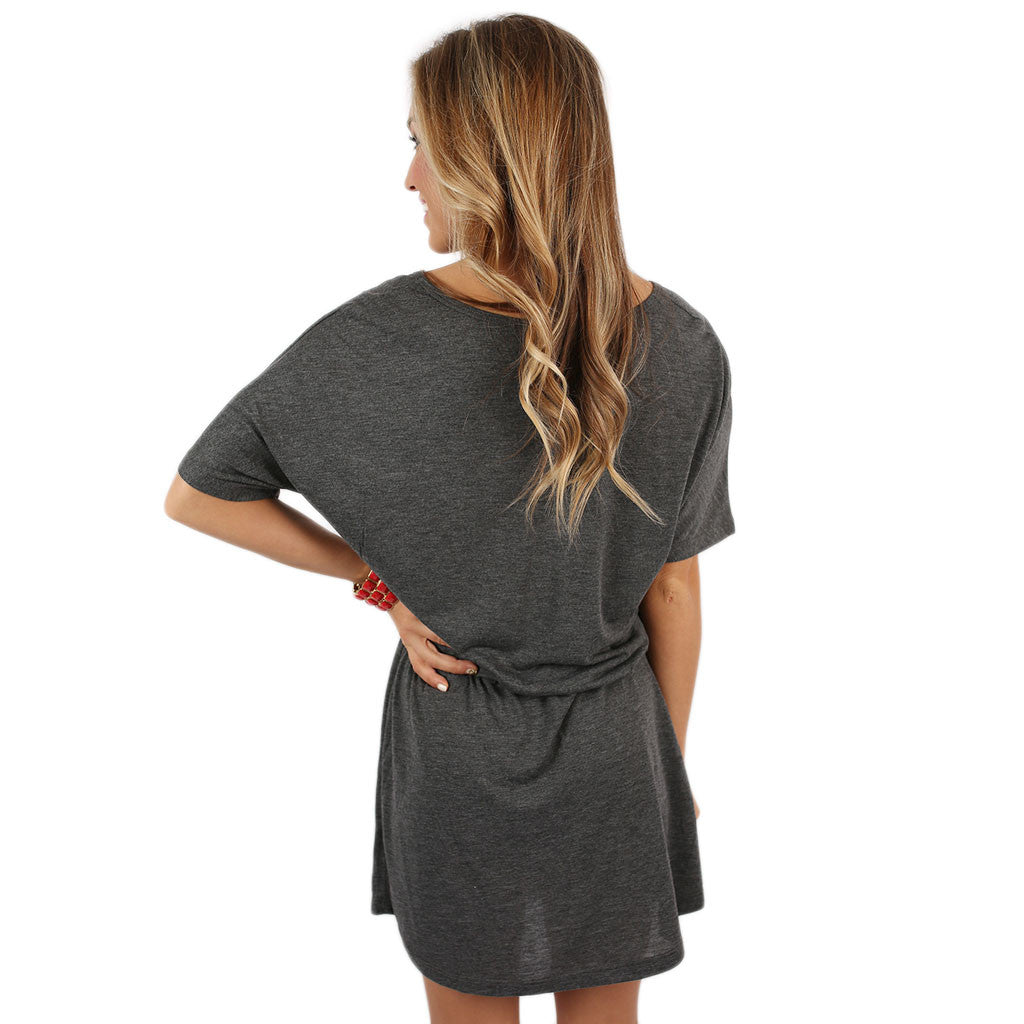 Razorback V-Neck Dress Grey
