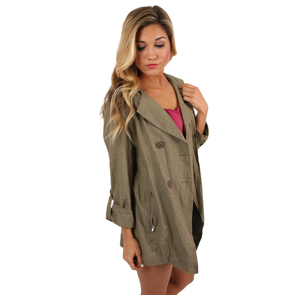 Breezy Chic Jacket in Olive