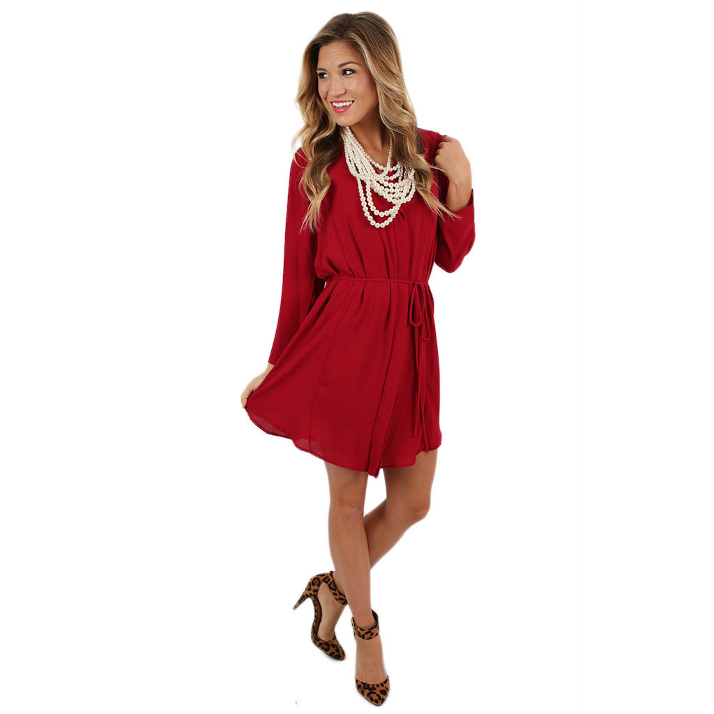 Impress Me Dress in Crimson