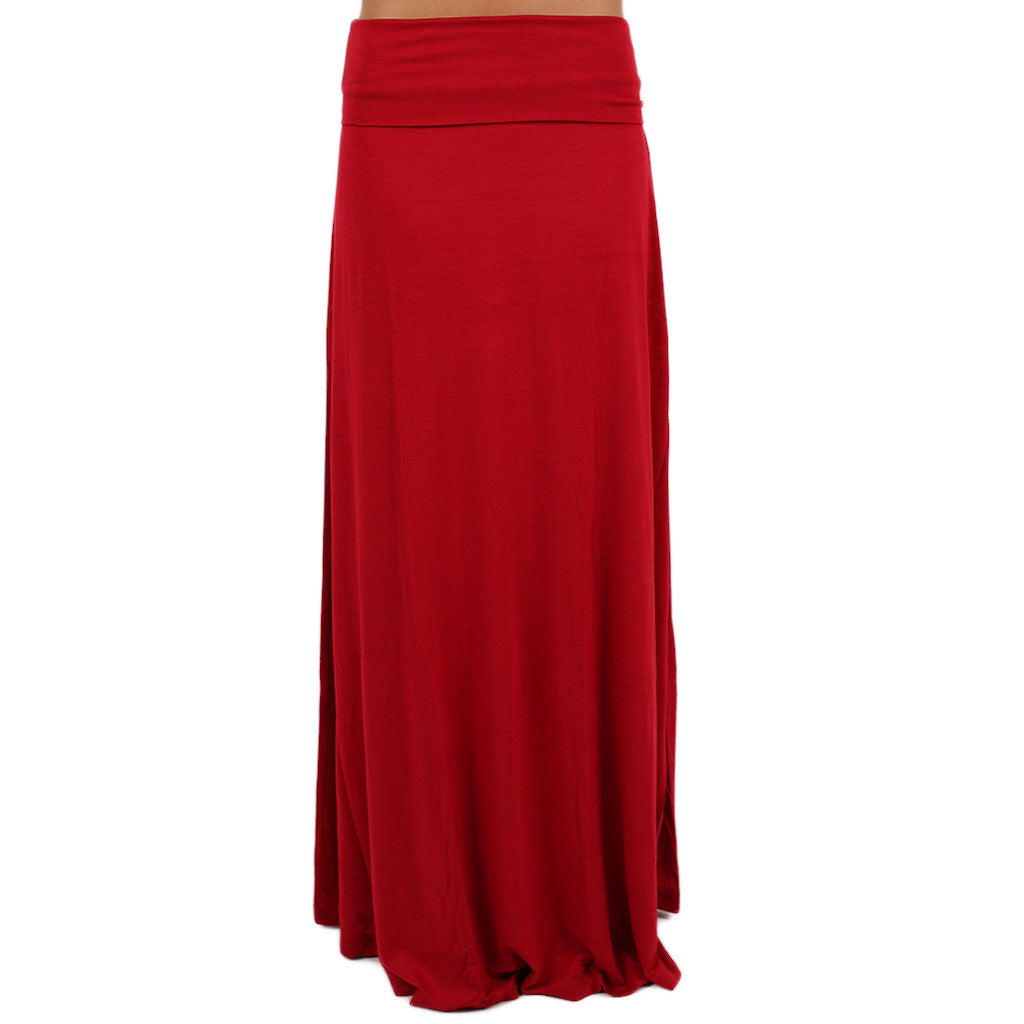 Not So Basic Maxi Skirt in Red