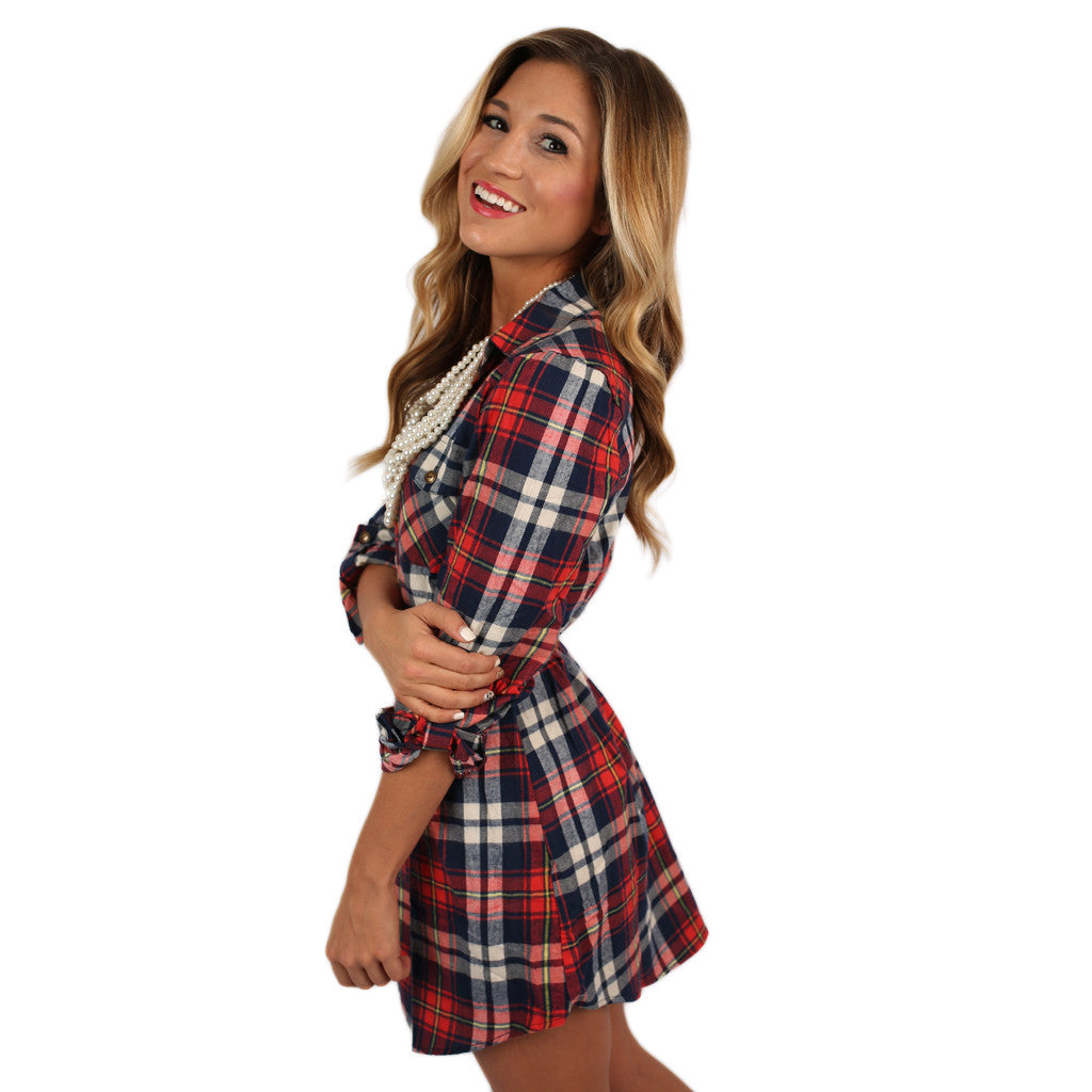 Southern Comfort Flannel Dress in Red