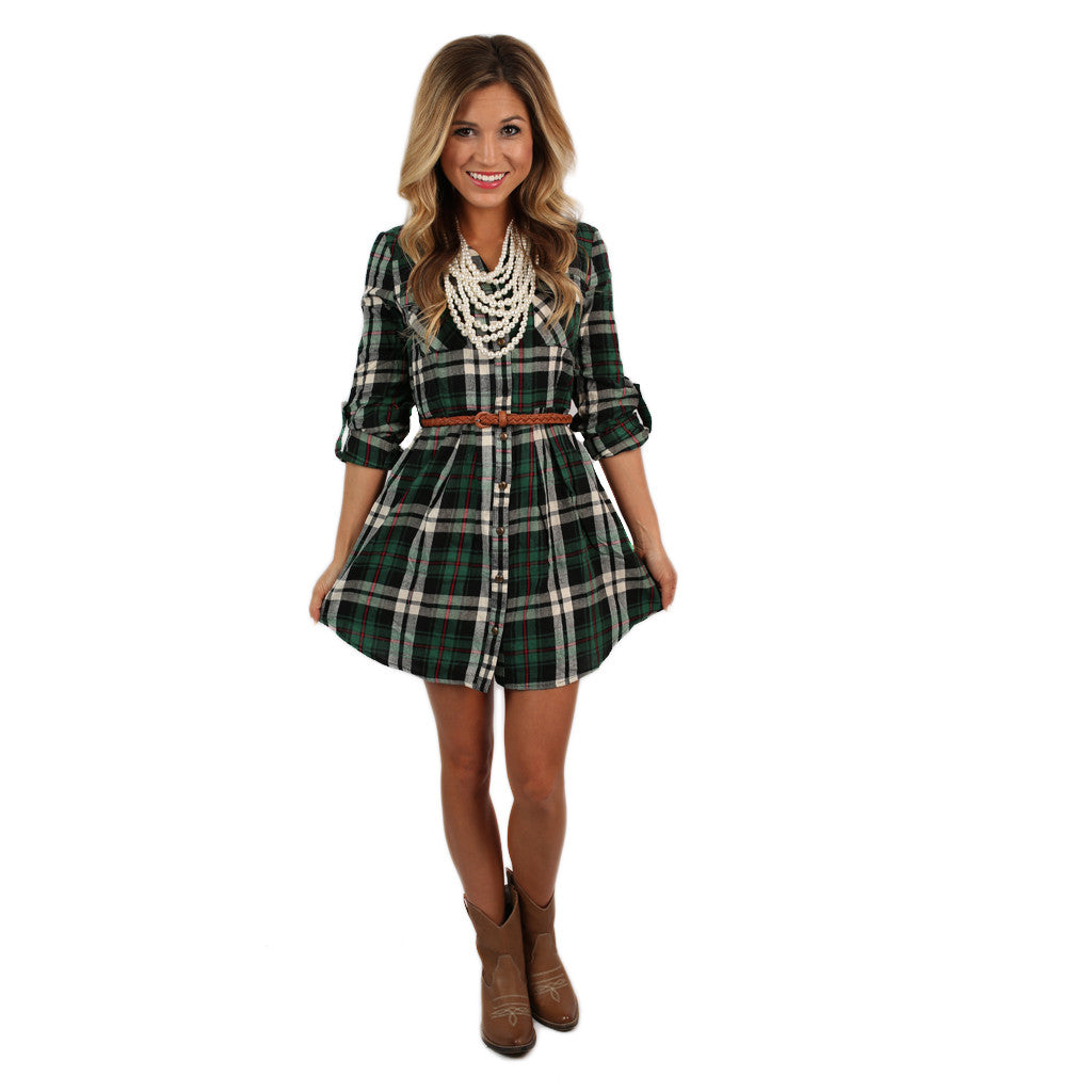 Southern Comfort Flannel Dress in Green