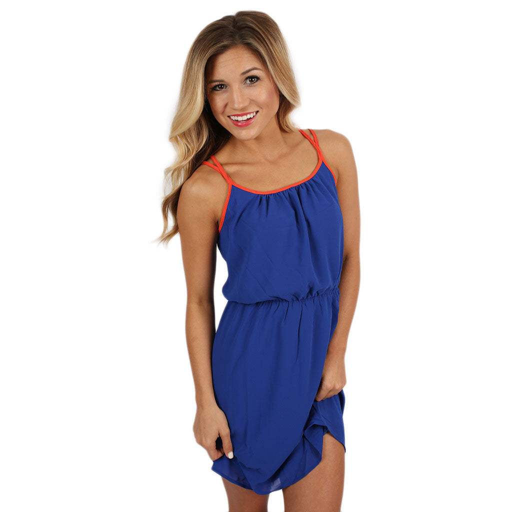 Let's Tailgate Dress in Royal Blue