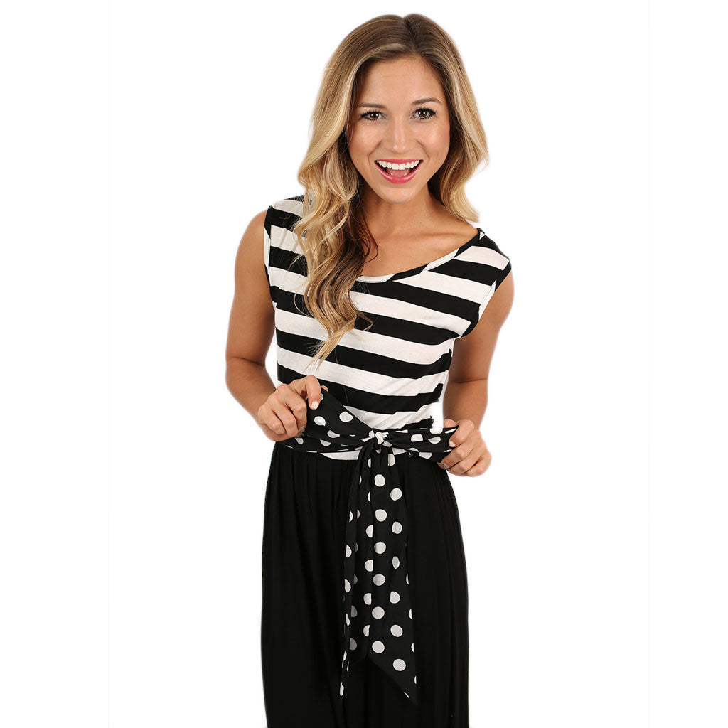 Stripes & Smiles Maxi in Black