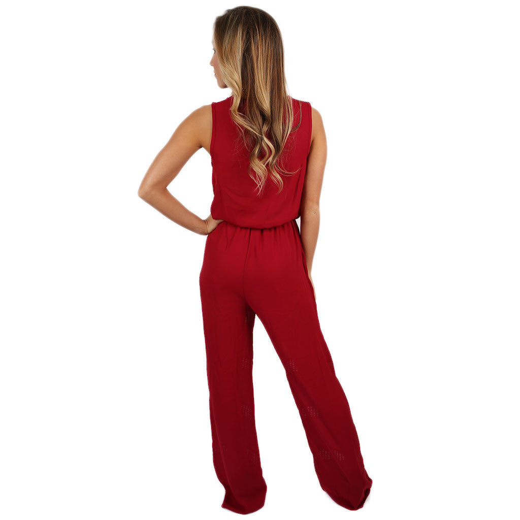 No Boundaries Jumpsuit in Red