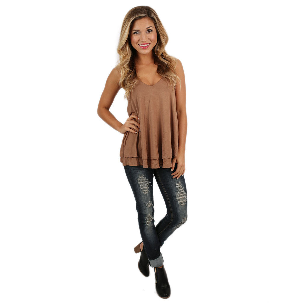 Lovely Layers Tank in Brown