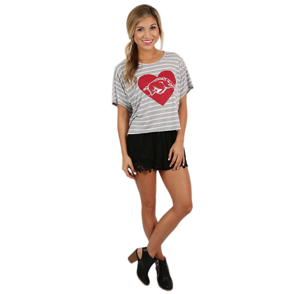 Athletic Stripe Tee with Razorback in Heart
