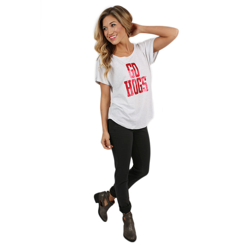 Red Go Hogs Dolman in Light Grey