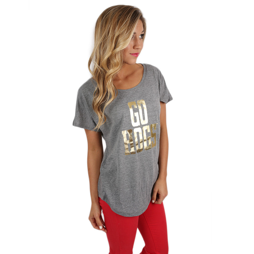 Gold Go Hogs Dolman in Grey