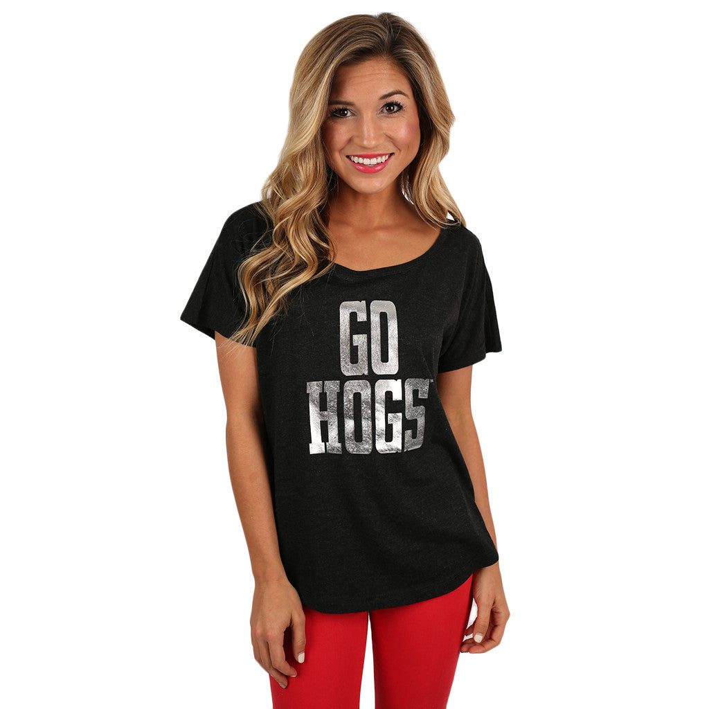 Silver Go Hogs Vintage Dolman in Black