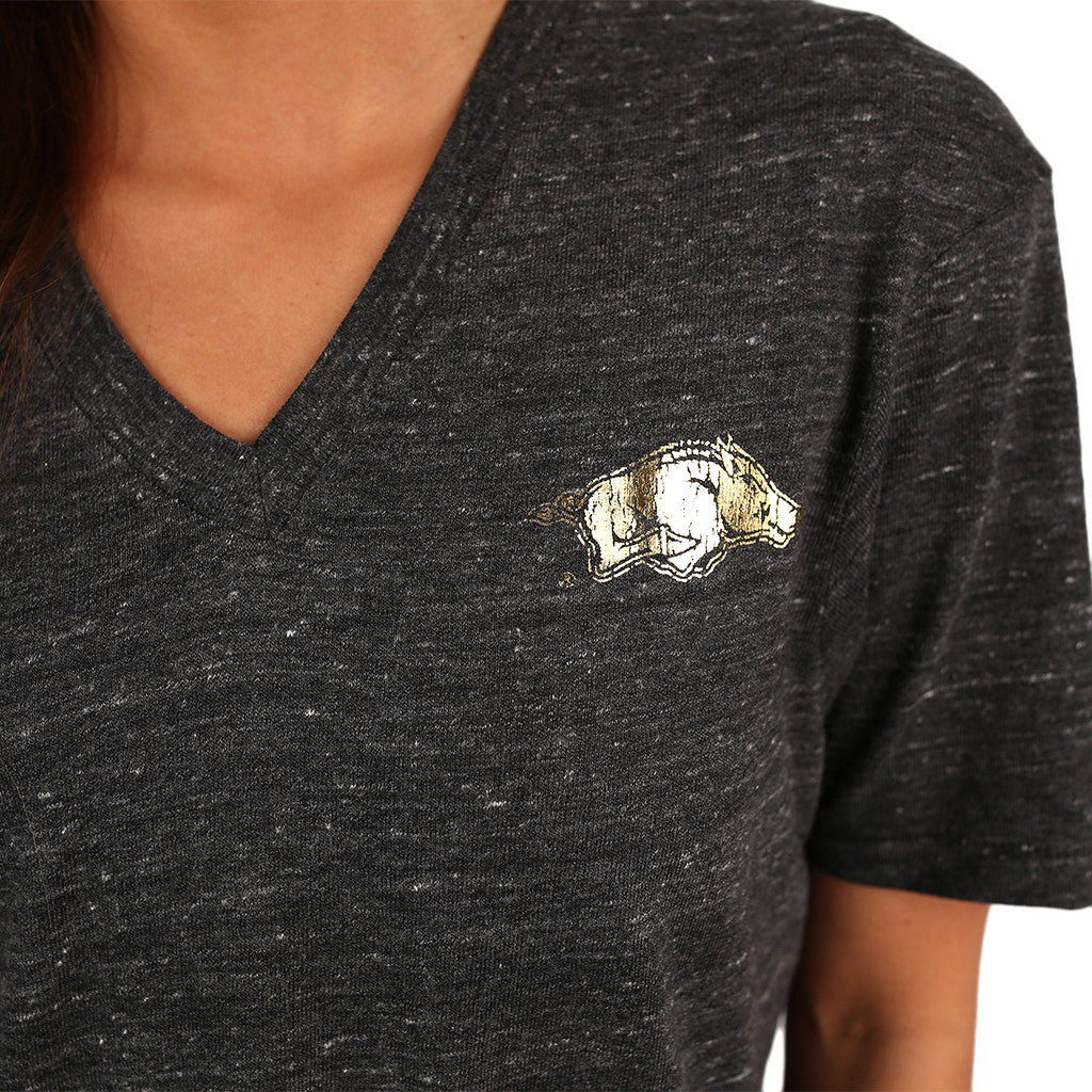 ECO V-Neck Tee with Gold Distressed Razorback