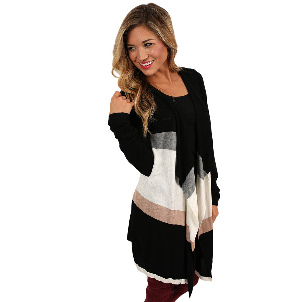Stripe & Chic Cardi in Black