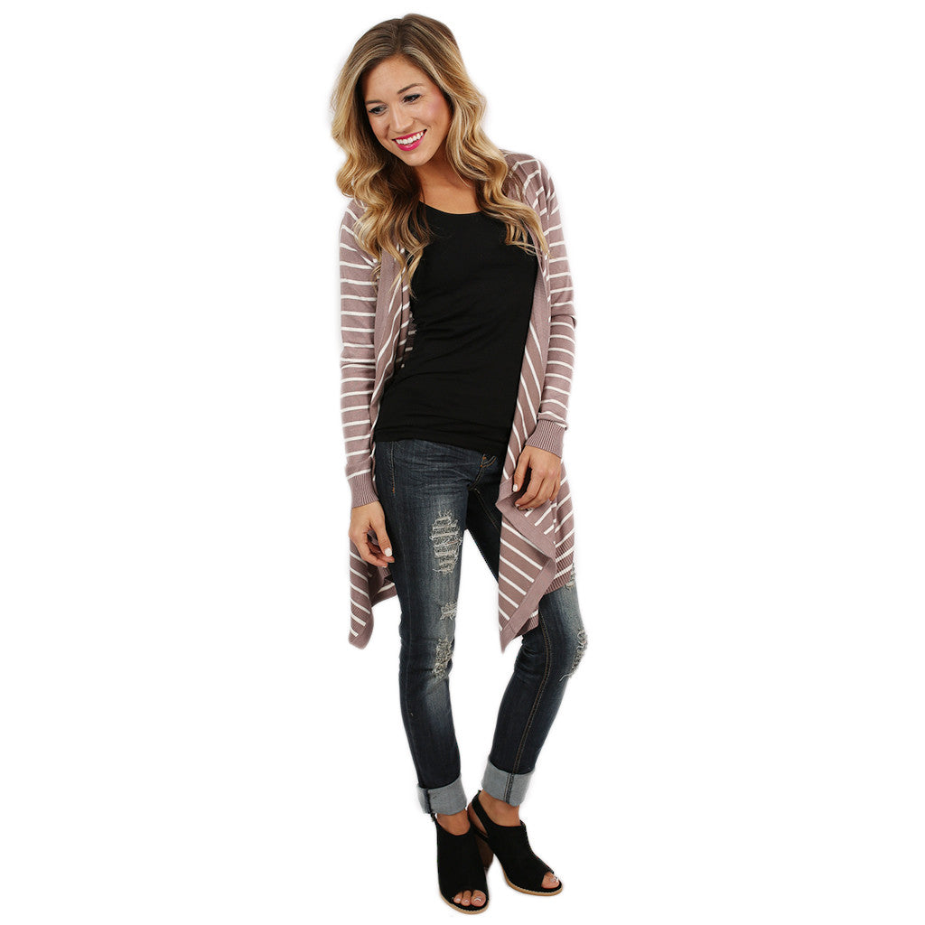 Happy Stripes Cardi Taupe