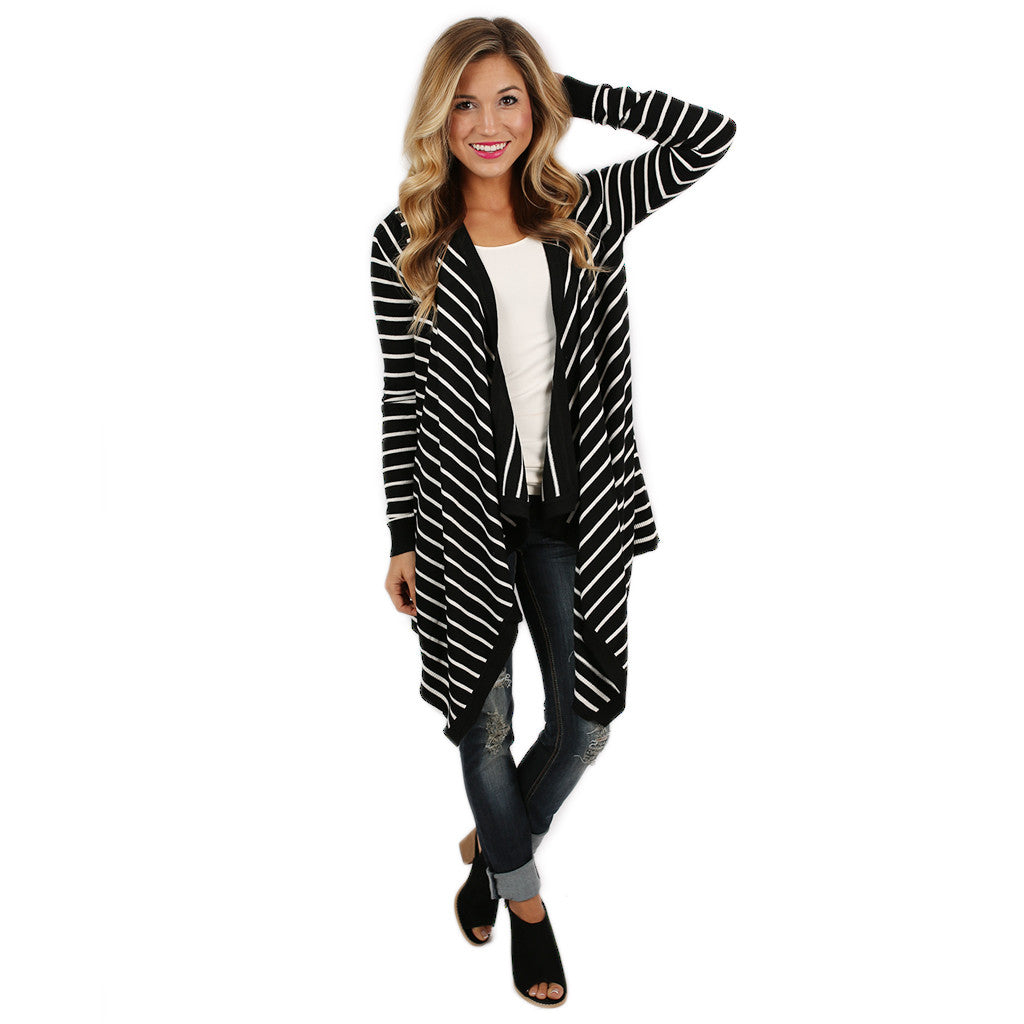 Happy Stripes Cardi Black