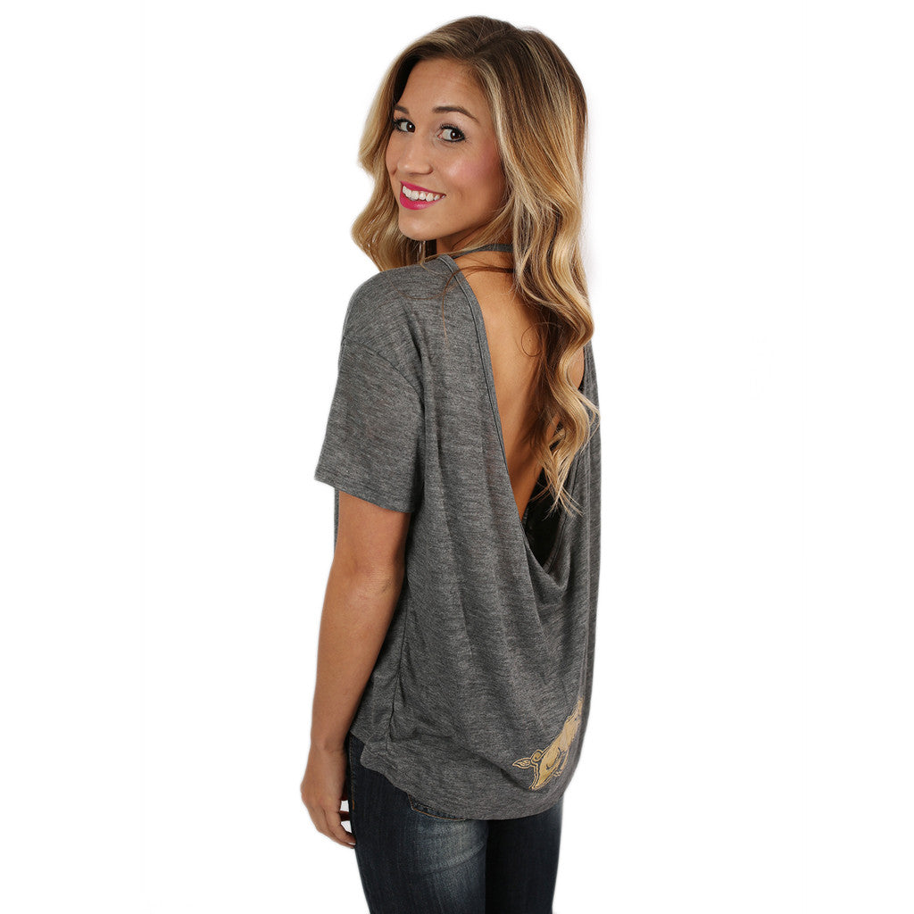 Gold Hogs Pony Tee in Grey