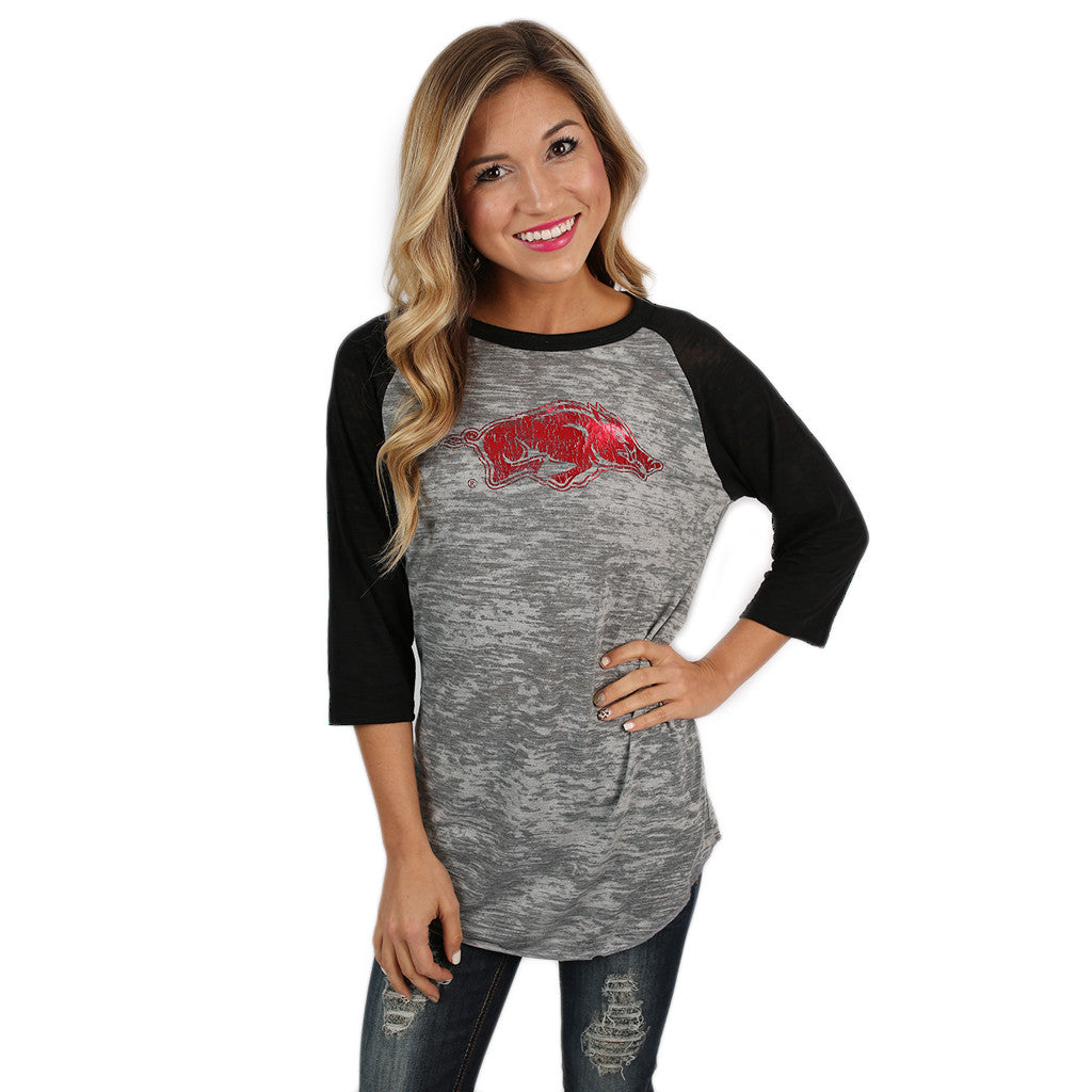 Big League Burnout Tee Distressed Razorback