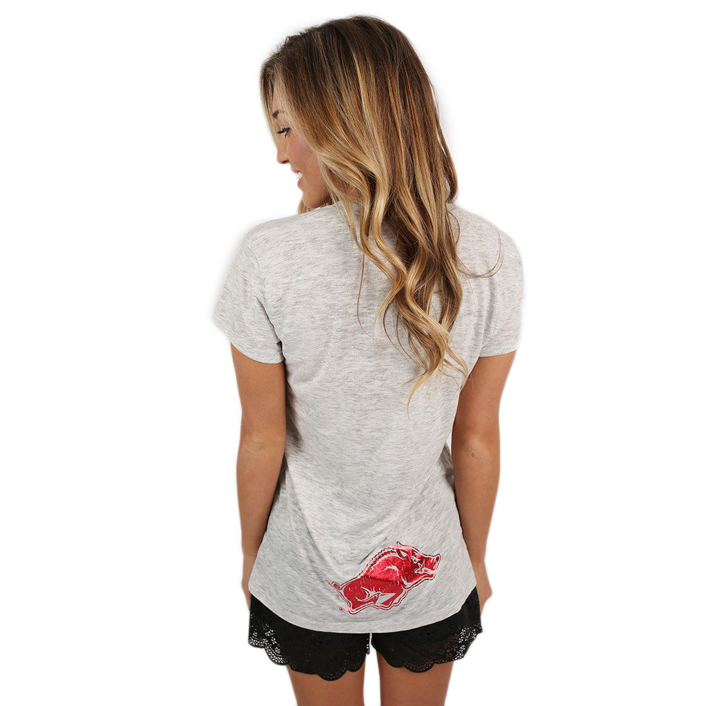 Red Go Hogs Kimber Tee in Light Grey