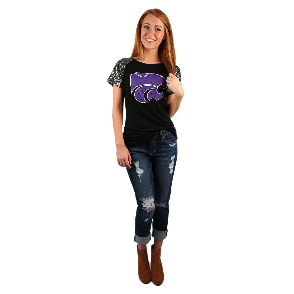 Sequin Sleeve Jersey K-State