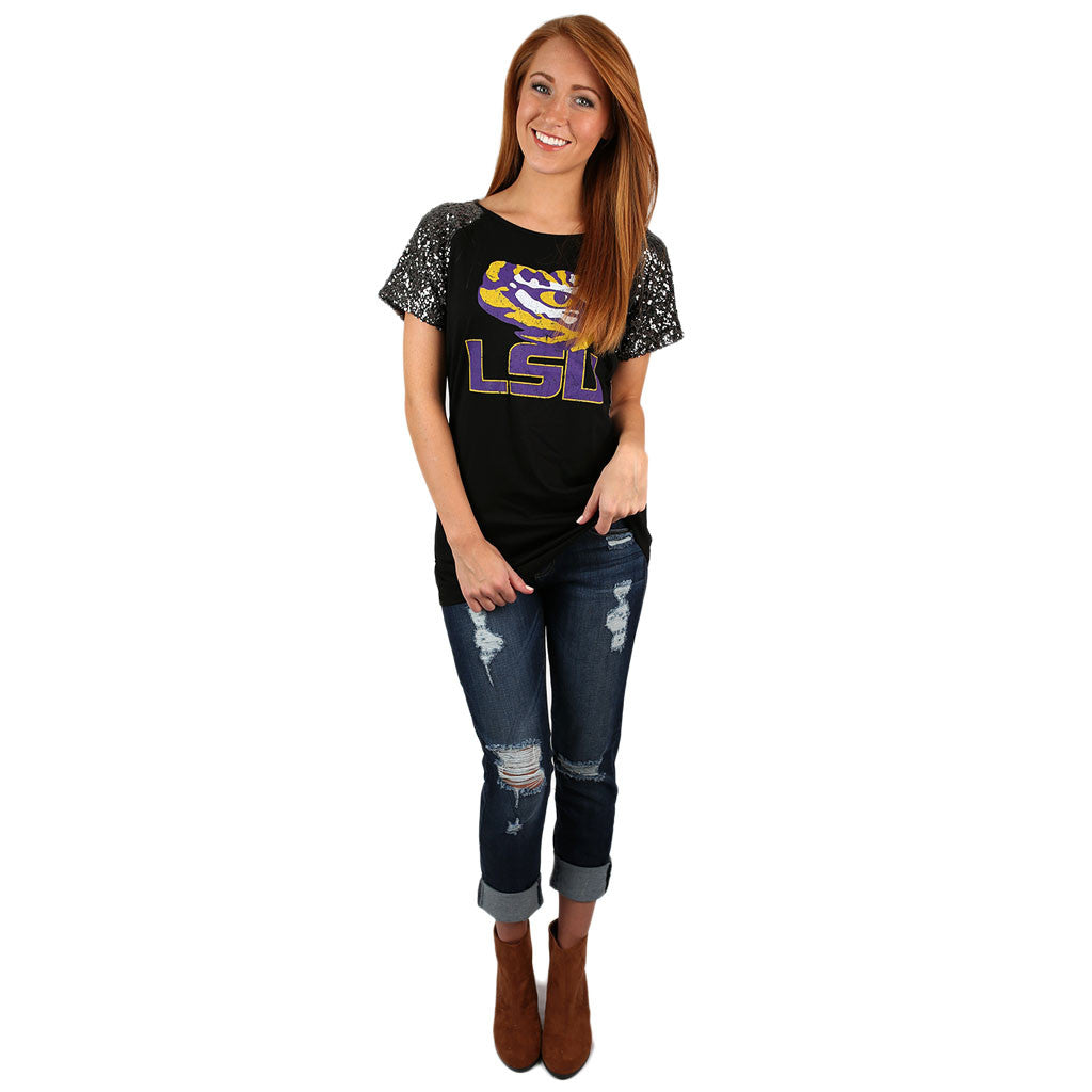 Sequin Sleeve Jersey LSU
