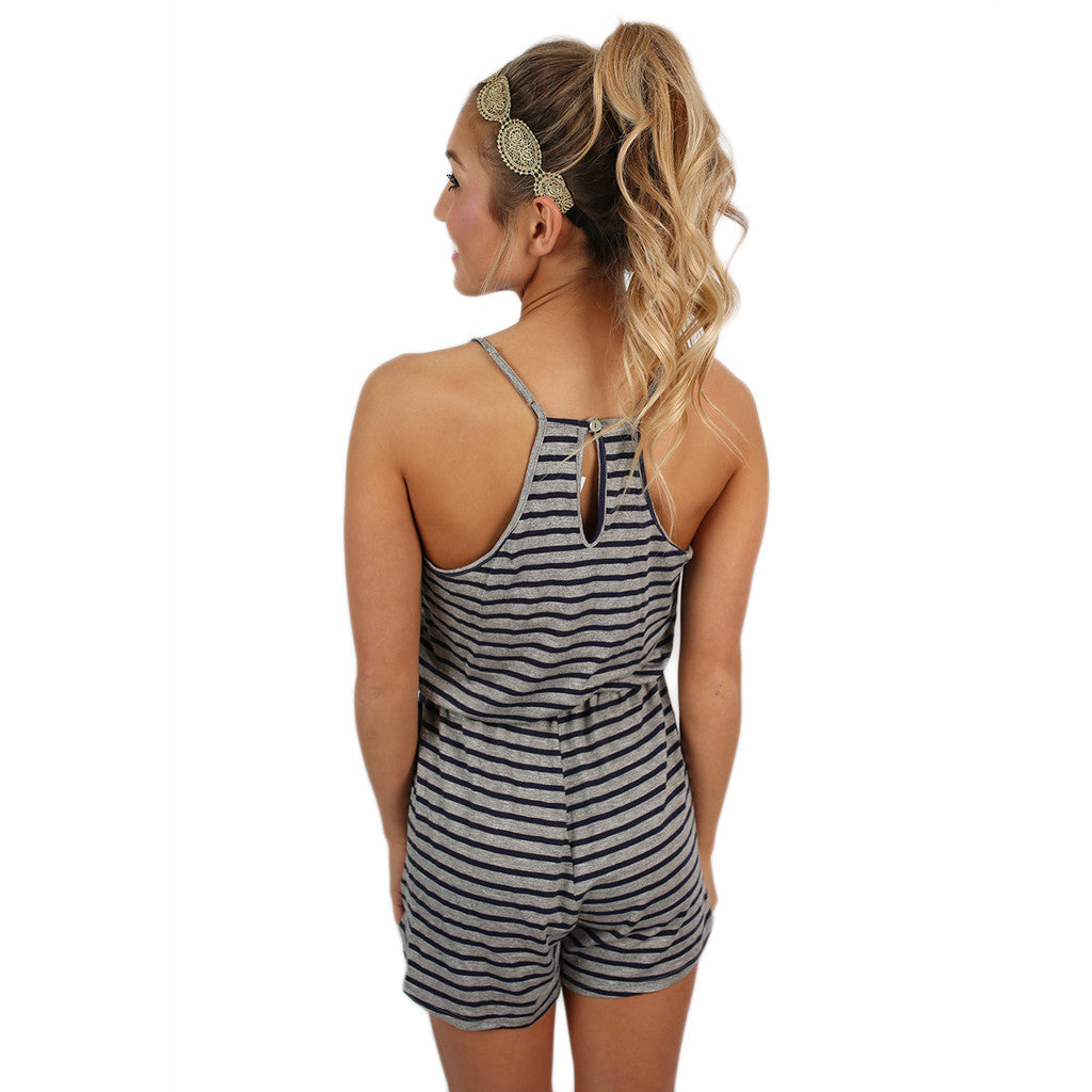 Feeling Fine Romper in Navy