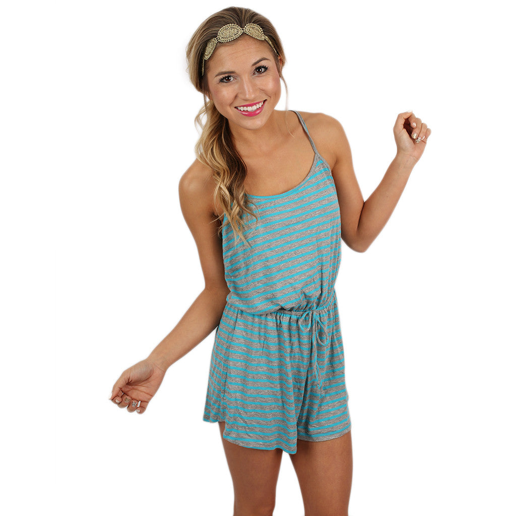 Feeling Fine Romper in Aqua