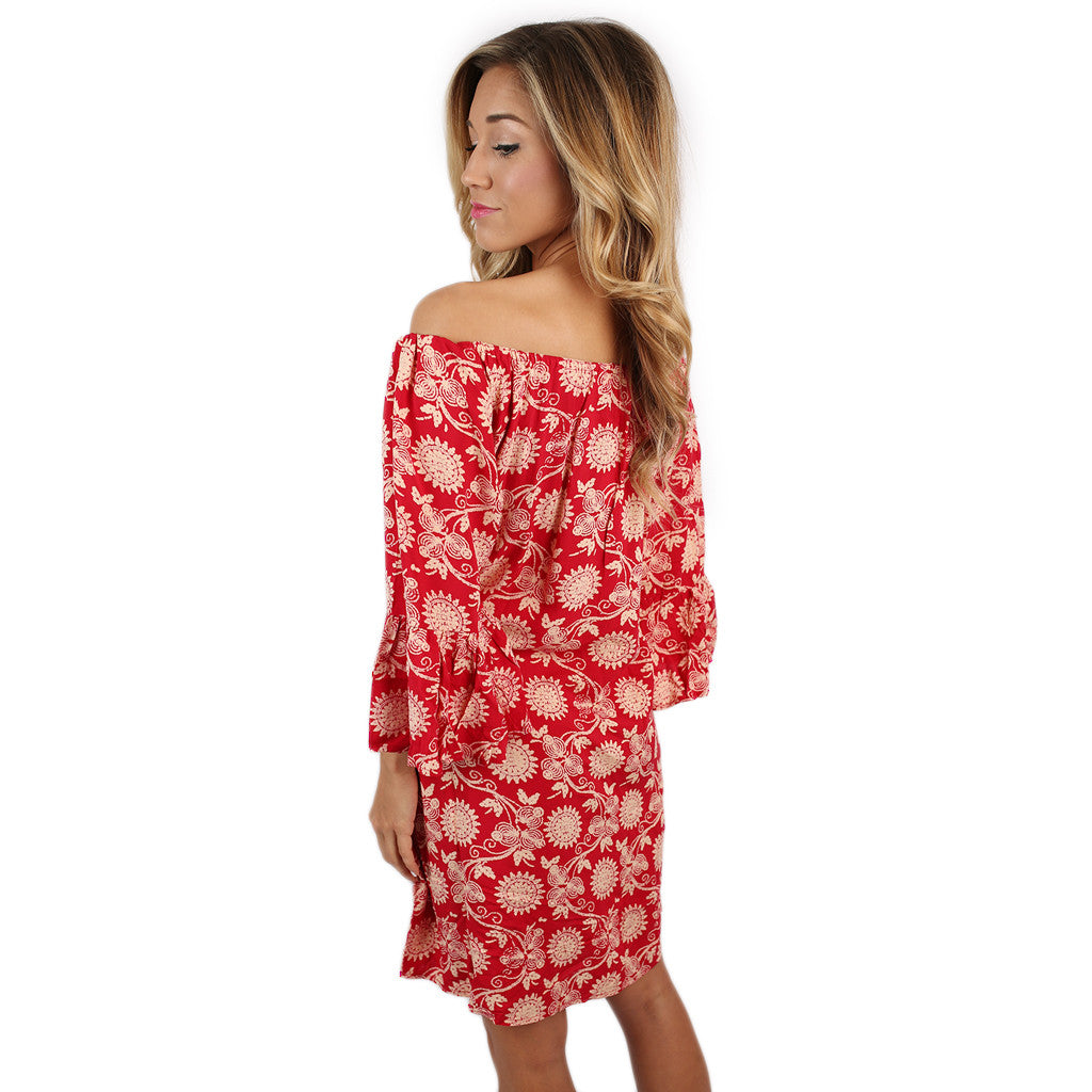 Ruffled Resort Dress in Red