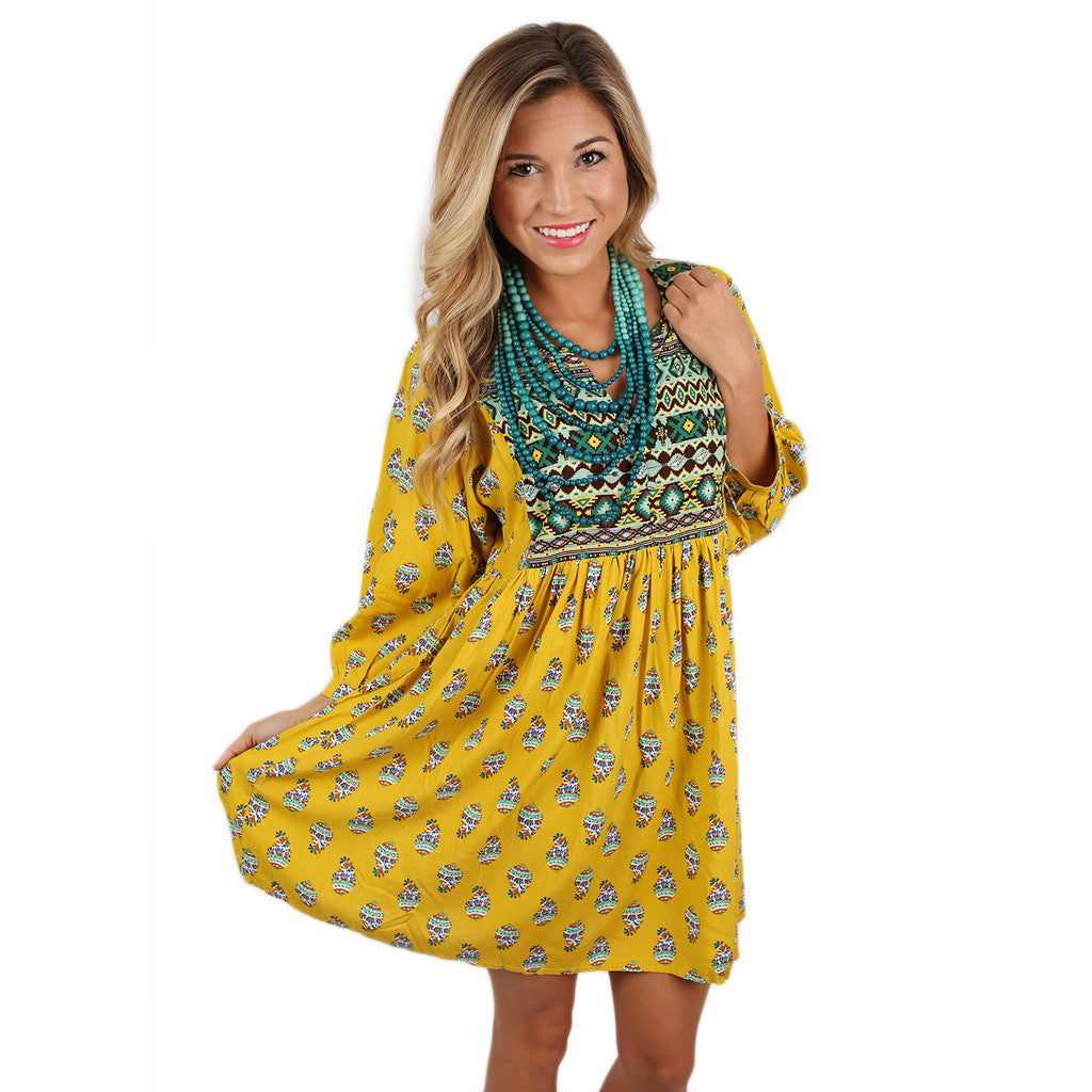 Perfect Day Tunic Dress in Mustard