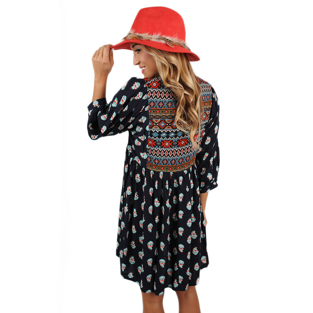 Perfect Day Tunic Dress in Navy