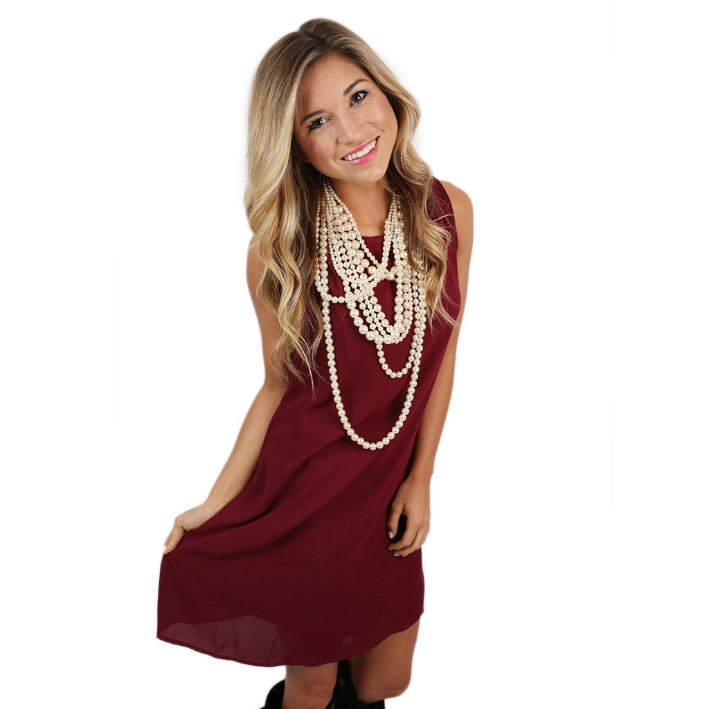 Bows & Kisses Sleeveless Dress Burgundy