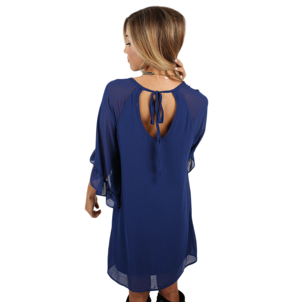 Blushing Over You Dress in Royal Blue