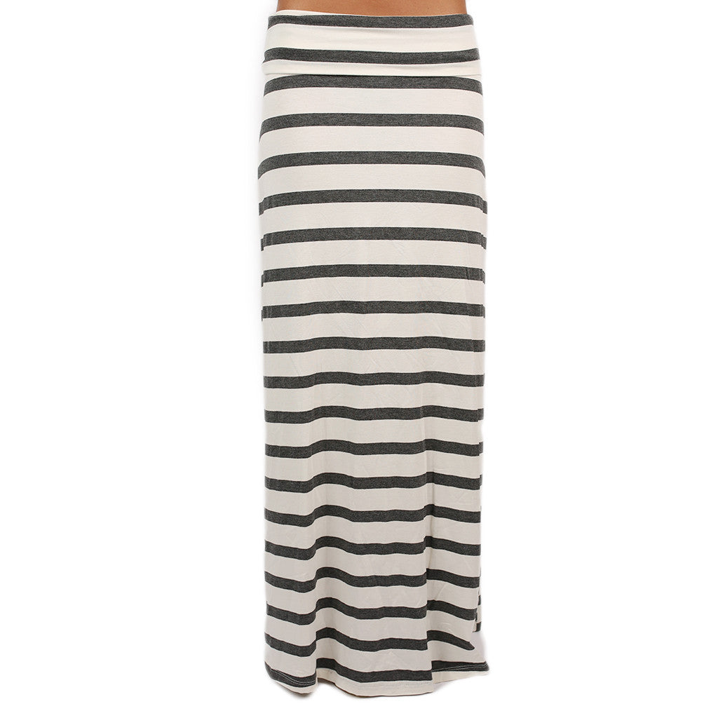 Southern Stripes Maxi Skirt in Ivory