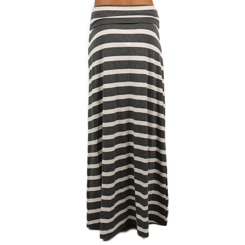 Southern Stripes Maxi Skirt in Grey