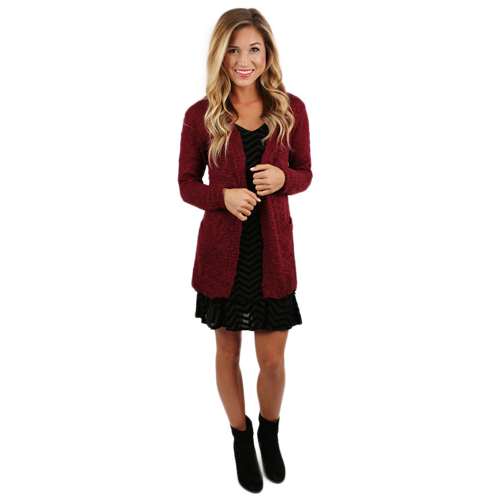 Cozy Cabin Cardi in Burgundy