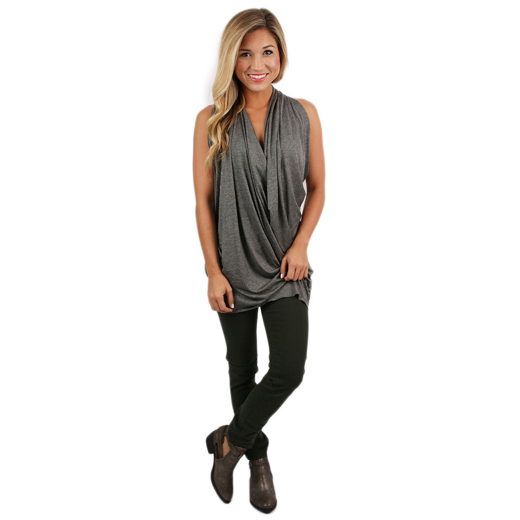 Draped to Perfection Tank Charcoal