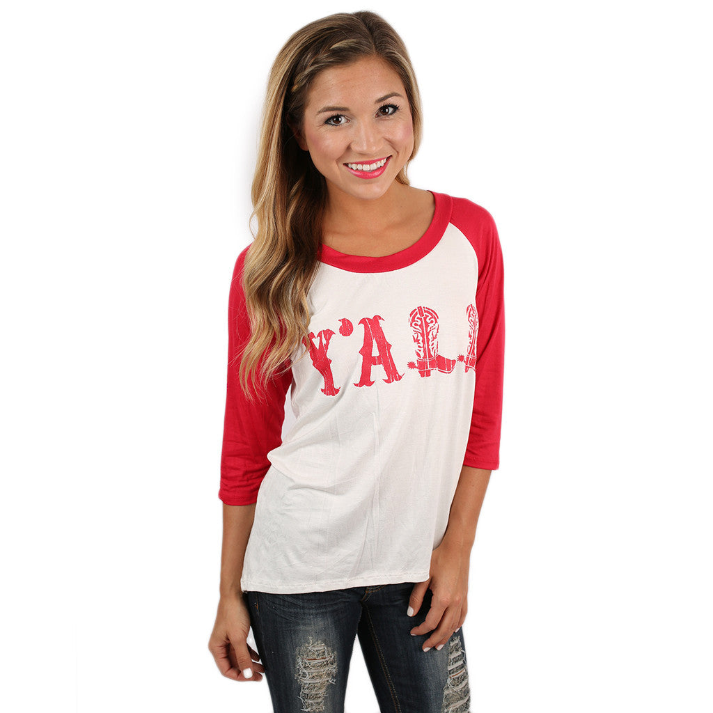 Hey, Y'all Baseball Tee Red