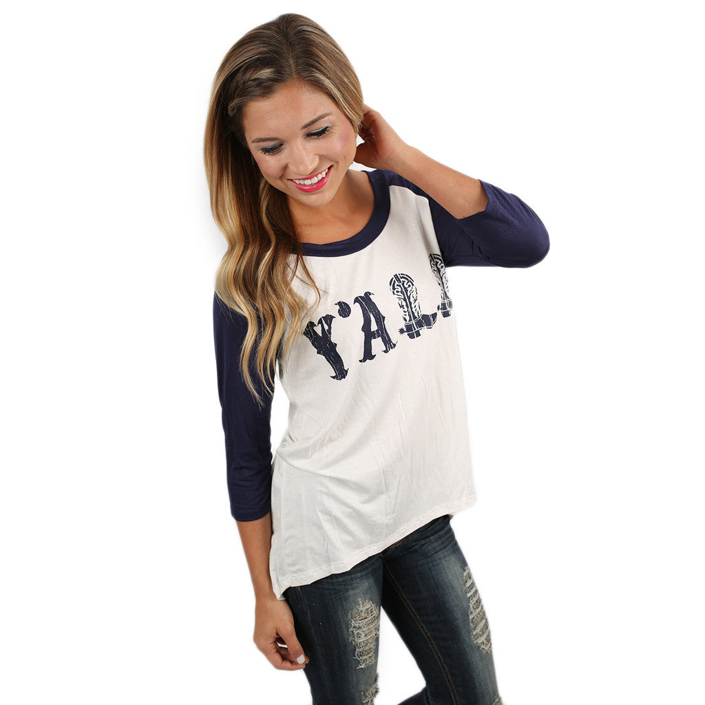 Hey, Y'all Baseball Tee Navy