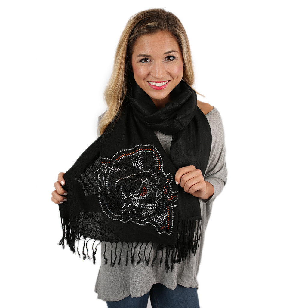 Sequin Pashmina OSU Scarf in Black