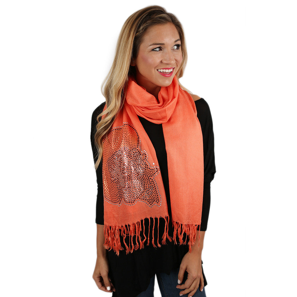 Sequin Pashmina OSU Scarf in Orange