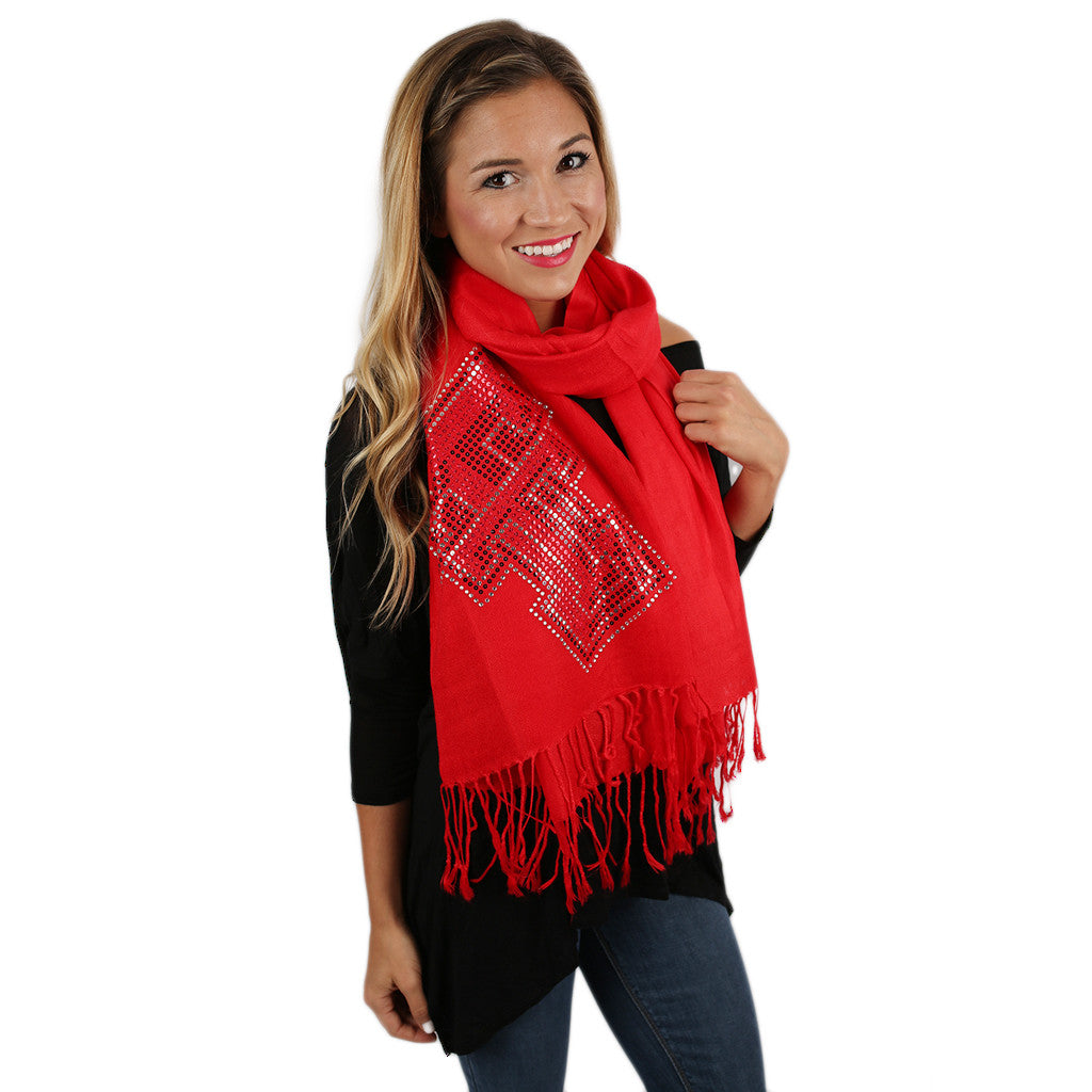 Sequin Pashmina Texas Tech Scarf