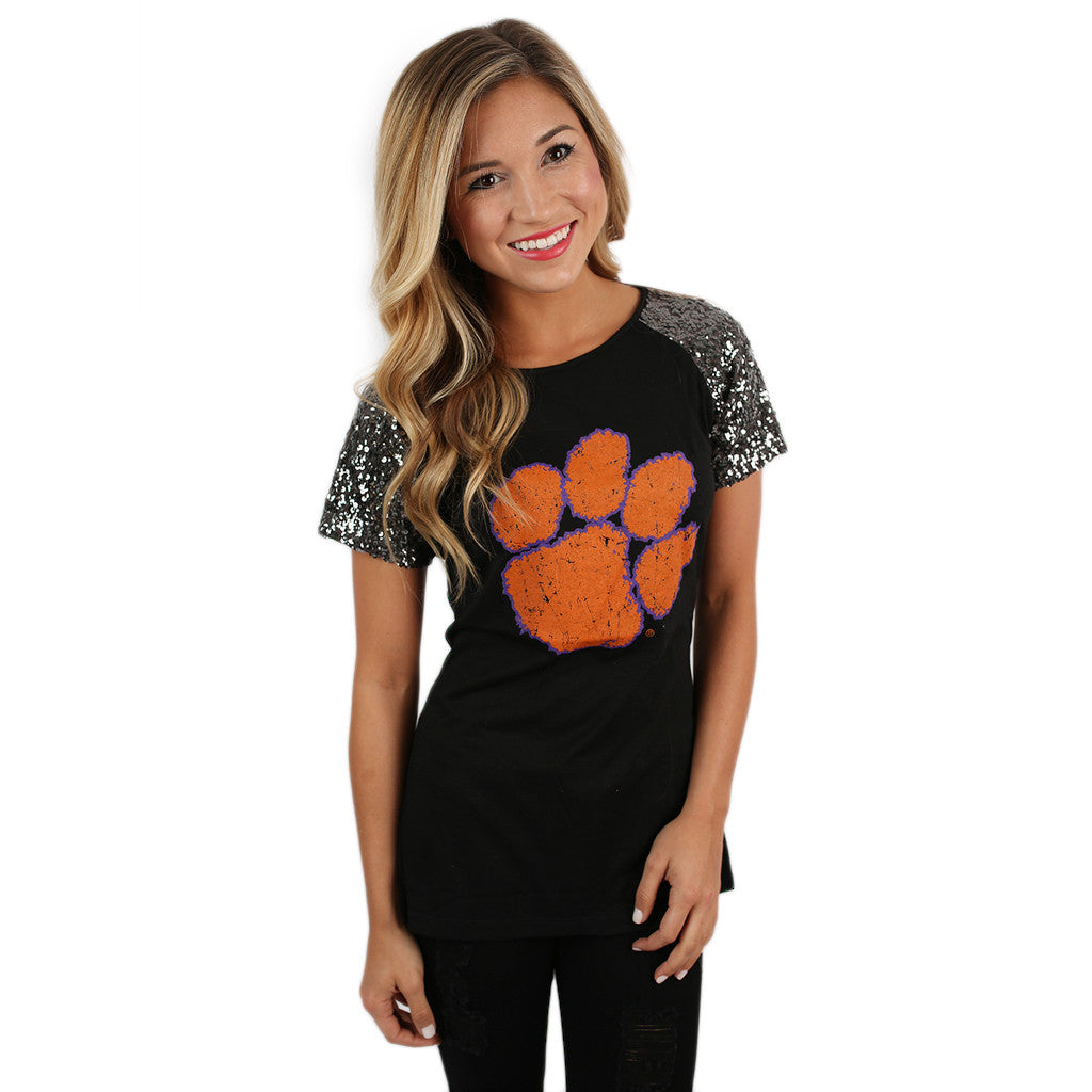 Sequin Sleeve Jersey Clemson University