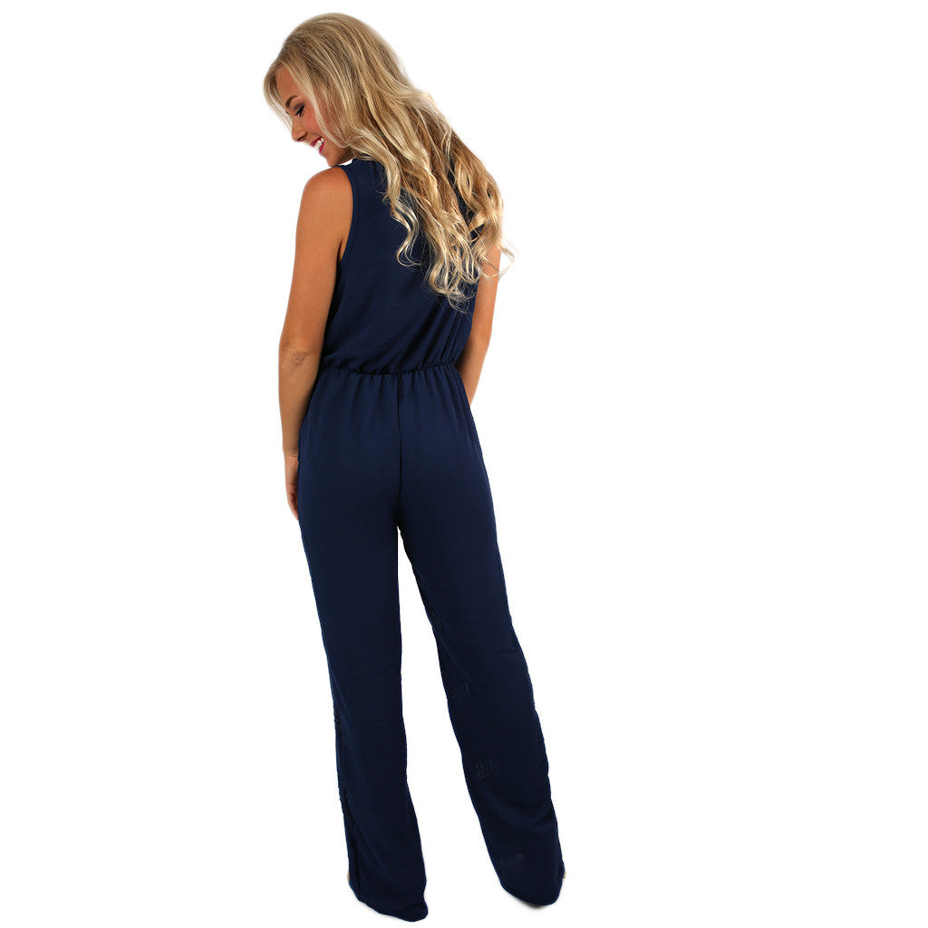 No Boundaries Jumpsuit in Navy
