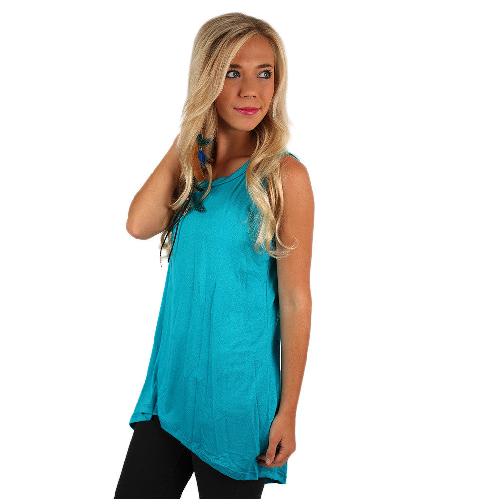 Anchors Away Tunic Tank in Turquoise