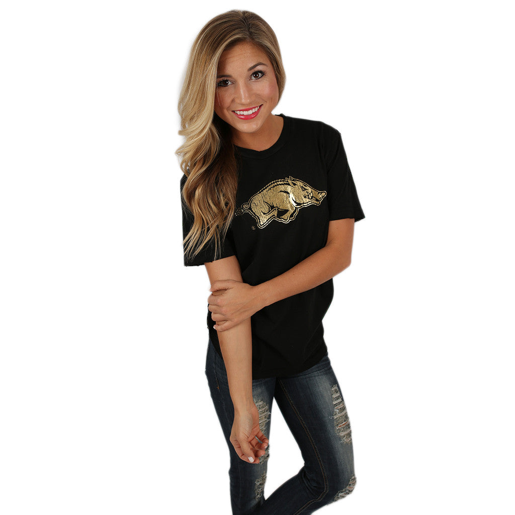 Distressed Tee with Gold Razorback