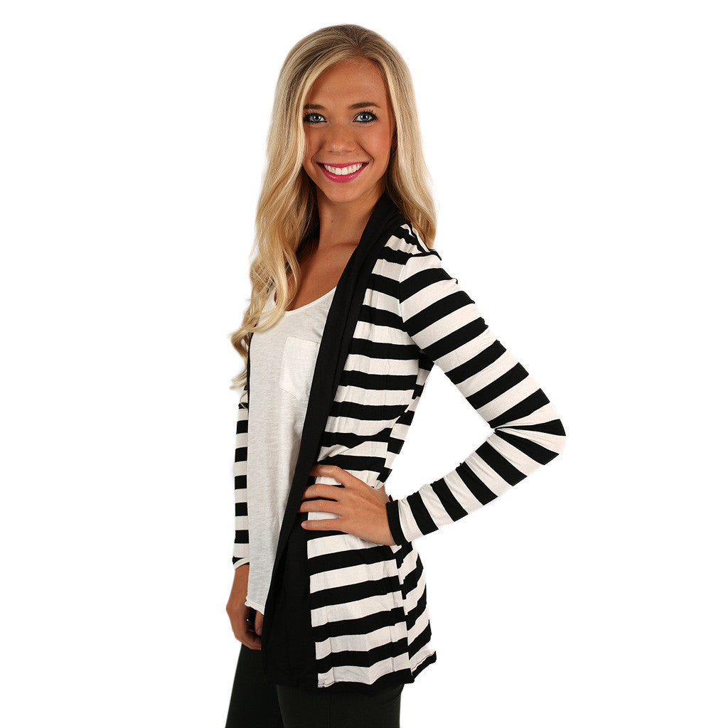 Perfectly Striped Cardi in Black